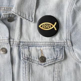 Christliches Fisch-Symbol Jesuss Runder Button 5,7 Cm