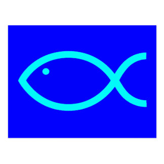 Christliches Fisch-Symbol - LOUD! Blau und Aqua Postkarte