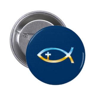 Christliches Fisch-Symbol mit Kruzifix - Himmel u. Anstecknadelbutton