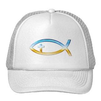 Christliches Fisch-Symbol mit Kruzifix - Himmel u. Truckerkappe