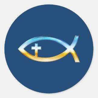 Christliches Fisch-Symbol mit Kruzifix - Himmel u. Runder Aufkleber
