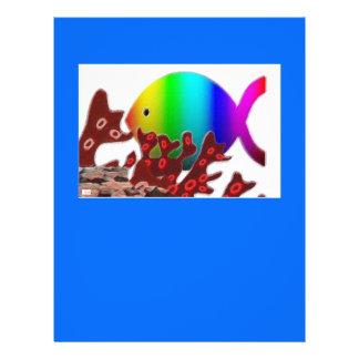 Christliches Fisch-Symbol - Regenbogen-Ozean 21,6 X 27,9 Cm Flyer