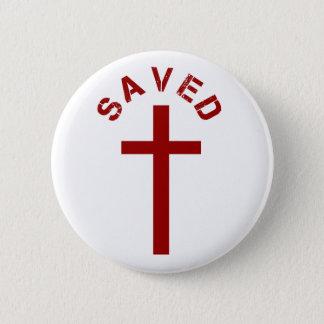 Christliches gerettetes rotes Kreuz und Text Runder Button 5,7 Cm
