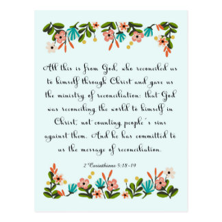 Christliches inspirational Korinther-5:18 der Postkarte