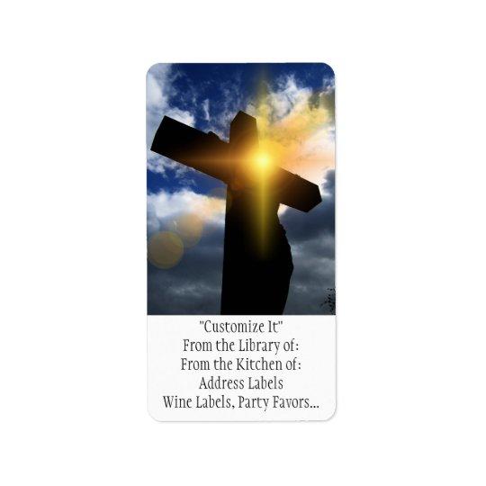 Christliches Kreuz am Ostern-Sonnenaufgang-Service Adressaufkleber