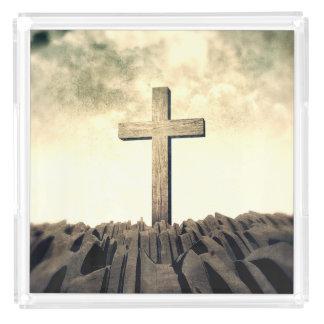Christliches Kreuz auf Berg Acryl Tablett