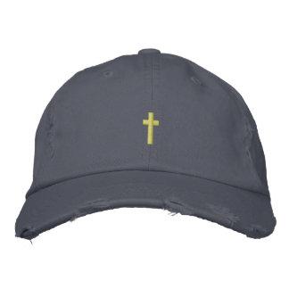 Christliches Kreuz gestickter Hut
