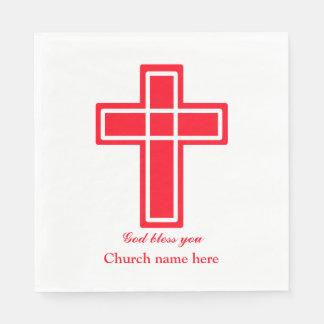 Christliches Kreuz im Rot Serviette