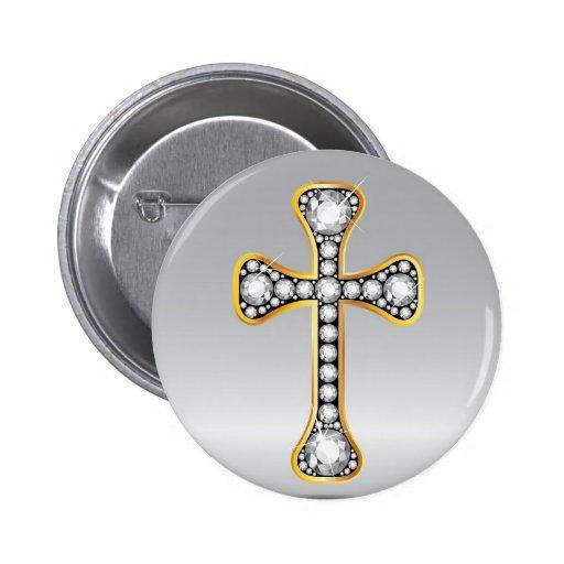 """Christliches Kreuz mit """"Diamant-"""" Steinen Anstecknadelbuttons"""