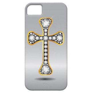 """Christliches Kreuz mit """"Diamant-"""" Steinen iPhone 5 Etui"""