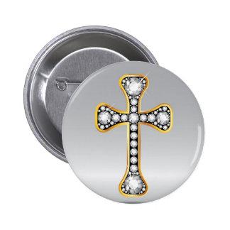 """Christliches Kreuz mit """"Diamant-"""" Steinen Runder Button 5,1 Cm"""