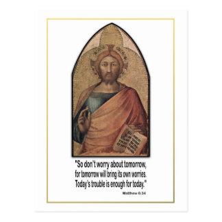 Christliches Matthew-6 34 Vers-Zitat sorgen sich Postkarte
