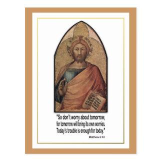Christliches Matthew-6:34 Vers-Zitat ~ sorgen sich Postkarten