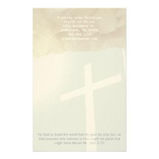 Christliches Querbriefpapier auf Grau Bedrucktes Papier
