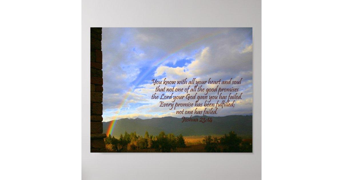 Christliches Regenbogen-Plakat mit Bibel-Vers Poster