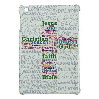 Christliches religiöses Wort-Kunst-Kreuz iPad Mini Hülle