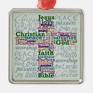 Christliches religiöses Wort-Kunst-Kreuz Silbernes Ornament