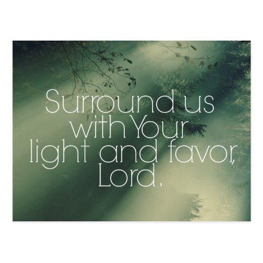Christliches Zitat mit Sunbeams-Mitteilung Postkarte