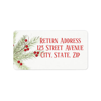 Christmas Branch Holiday Mailing Label Adressaufkleber