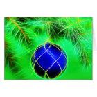 Christmas card blue bauble with fir branch karte