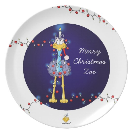 "christmas plate for kids with name ""Emu"" Melaminteller"