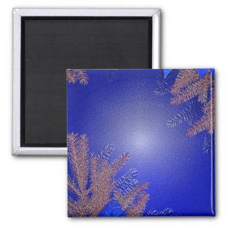 Christmas Poinsettia Blue I Refrigerator Magnets