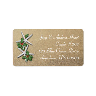 Christmas Starfish Beach Sand Return Address Label Adressaufkleber