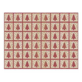 Christmassy Rot gestricktes Muster Postkarte