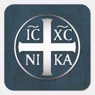 Christogram ICXC NIKA Jesus erobert Quadratischer Aufkleber