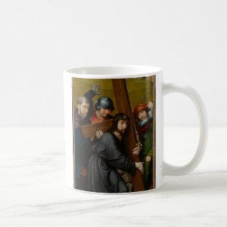 Christus, der das Kreuz, mit der Kreuzigung trägt Kaffeetasse