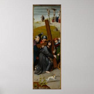 Christus, der das Kreuz, mit der Kreuzigung trägt Poster