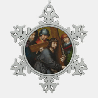 Christus, der das Kreuz, mit der Kreuzigung trägt Schneeflocken Zinn-Ornament