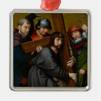 Christus, der das Kreuz, mit der Kreuzigung trägt Silbernes Ornament