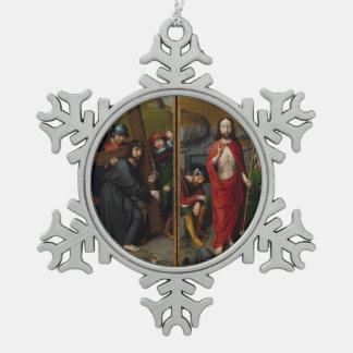 Christus, der das Kreuz trägt Schneeflocken Zinn-Ornament
