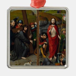 Christus, der das Kreuz trägt Silbernes Ornament