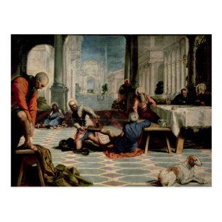 Christus, der die Füße der Schüler wäscht Postkarte