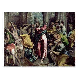 Christus der die Händler vom Tempel fährt Postkarte