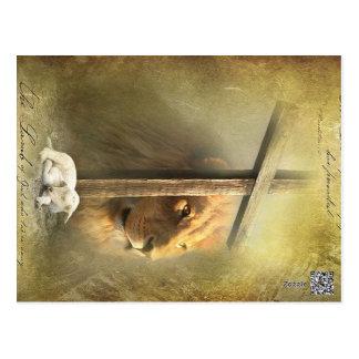Christus der Löwe, das Lamm des Gottes Postkarte