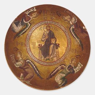 Christus die Pantakrator christliche Ikone Runder Aufkleber