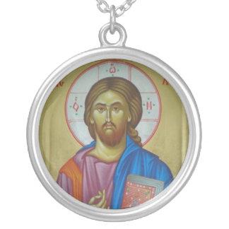 Christus-Ikone Halskette Mit Rundem Anhänger