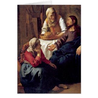 Christus im Haus von Martha durch Johannes Vermeer Grußkarte