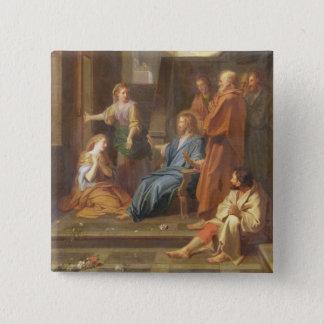 Christus im Haus von Martha und von Mary Quadratischer Button 5,1 Cm