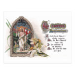 Christus im Ostern-Kirchen-Fenster mit Narzisse Postkarte