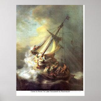 Christus im Sturm auf See Genezareth durch Rembran Posterdruck