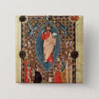 Christus in der Majestät mit Heiligen Quadratischer Button 5,1 Cm