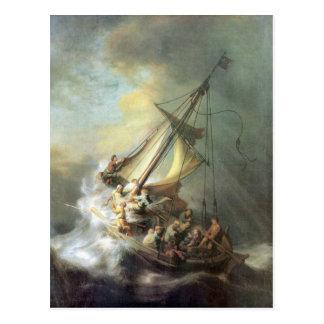 Christus in einem Sturm auf dem Meer von Galiläa - Postkarte