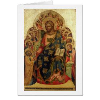 Christus inthronisierte mit Heiligen und Engeln Th Grußkarte