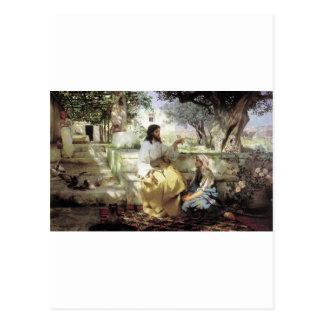 Christus mit Martha und Maria circa 1886 Postkarten