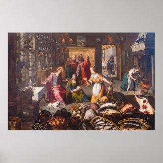 Christus mit Martha und Mary durch Joos Goemare Poster
