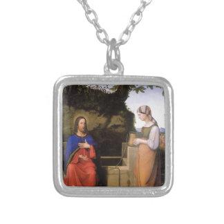 Christus und die Samariterin Halskette Mit Quadratischem Anhänger